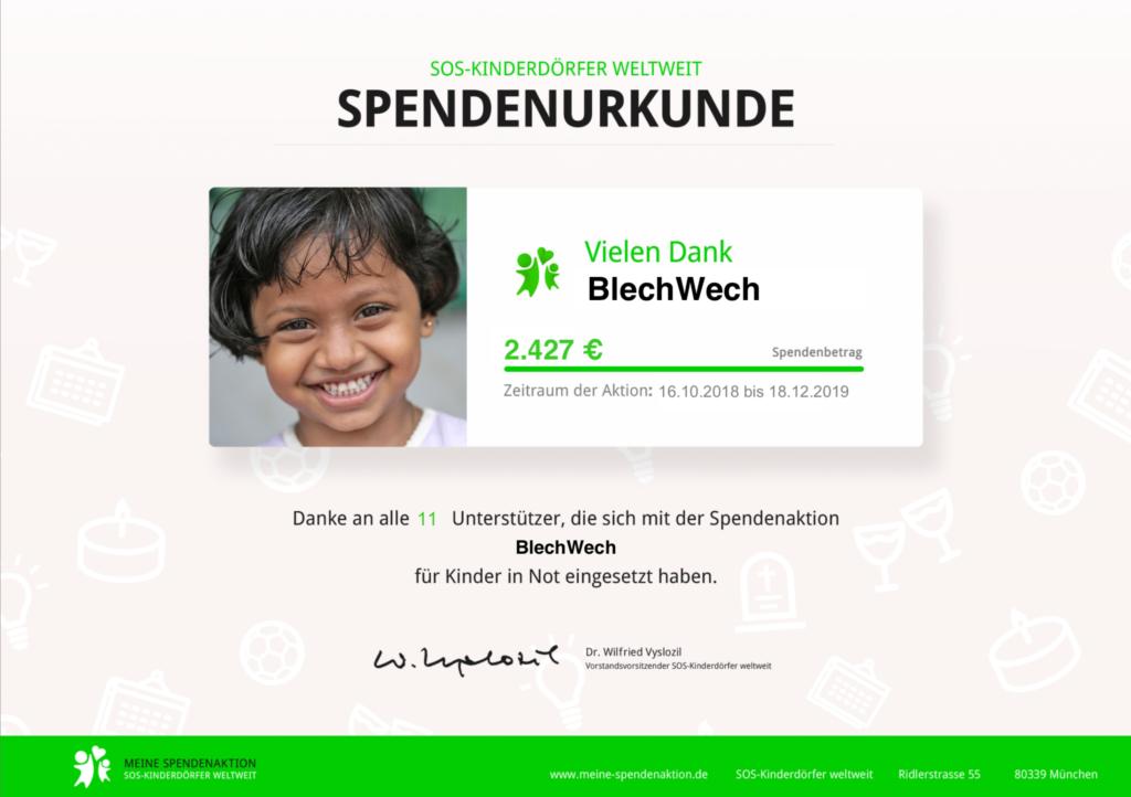 Spendenurkunde SOS-Kinderdörfer Weltweit